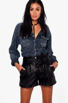 boohoo Jenny Belted Faux Leather Shorts black