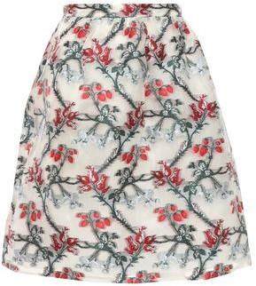 Erdem Gathered Metallic Fil Coupe Organza Mini Skirt
