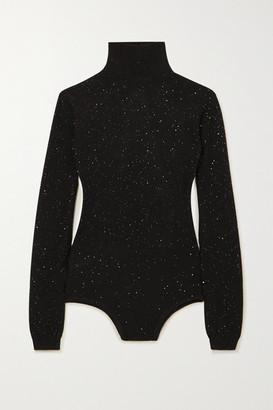 Area Open-back Sequined Wool-blend Turtleneck Bodysuit - Black