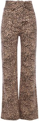 Ulla Johnson Wade Tie-front Leopard-print Wide-leg Jeans
