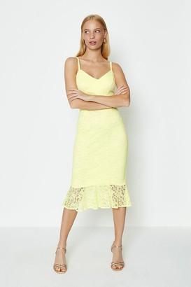 Coast Cami strap lace peplum midi dress