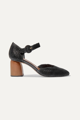 Souliers Martinez - Antequera Woven Leather Pumps - Black