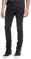 Pierre Balmain Skinny-Fit Biker Denim Jeans, Black