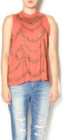 Free People Terracotta Embellished Top
