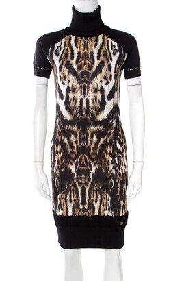 Roberto Cavalli Black Animal Printed Wool Blend Turtleneck Sweater Dress M