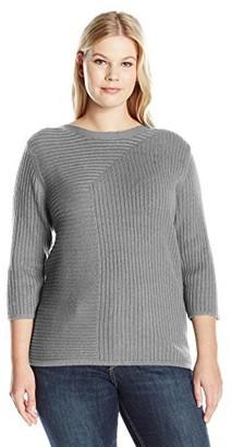 Leo & Nicole Women's Plus Size 3/4 SLV Textured Boat Neck Sweater