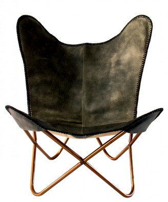 Nubuck Butterfly Chair Grey Crackle Leather