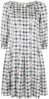 Emporio Armani Check-Print Flared Dress