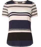 Dorothy Perkins Womens Navy And Nude Curve Hem T-Shirt- Blue