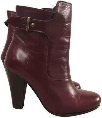 Claudie Pierlot Burgundy Leather Ankle boots