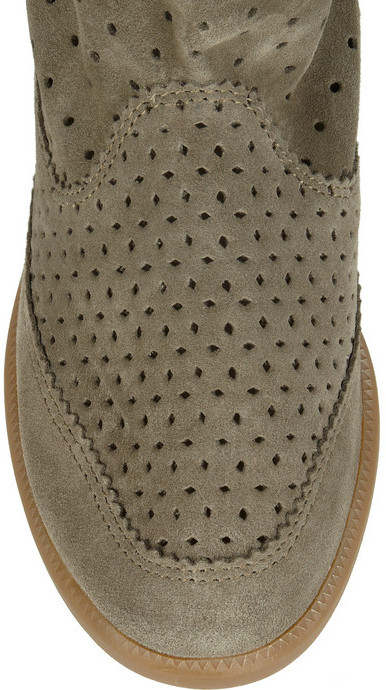 Isabel Marant The Basley perforated suede wedge ankle boots