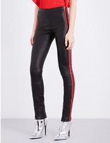 Haider Ackermann Striped-sides leather leggings