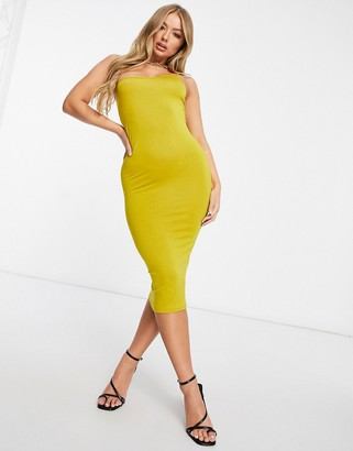 ASOS DESIGN minimal asymmetric strap cami body-conscious midi dress in chartreuse