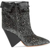 Isabel Marant Luliana Glittered Metallic Leather Ankle Boots - Gunmetal