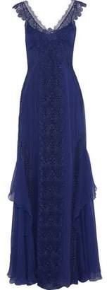 Alberta Ferretti Lace-paneled Silk-chiffon Gown