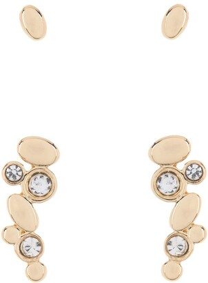 Halogen Gold-Tone CZ Crawler Earrings