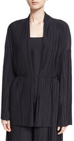 The Row Kim Accordion-Pleated Cardigan, Black