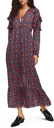 Scotch & Soda Tile Print Long Sleeve Maxi Dress