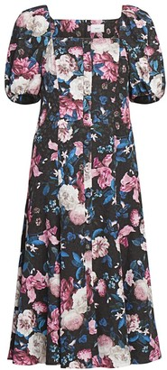 Erdem Mariona Dusk Bouquet Puff-Sleeve Midi Dress