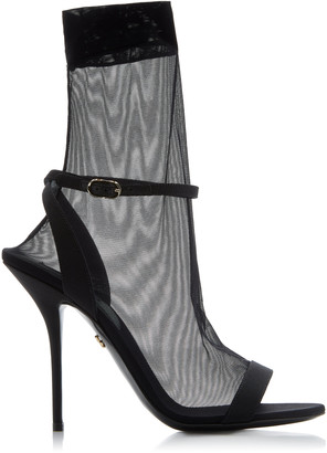 Dolce & Gabbana Grosgrain And Stretch-Tulle Leather Sandals
