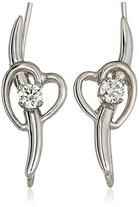 The Ear Pin Sterling Silver Cubic Zirconia Shoot Heart Earrings