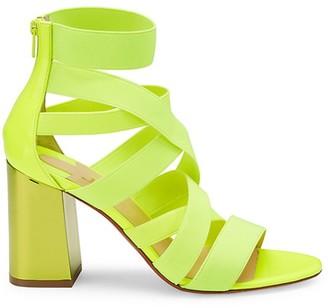 Christian Louboutin Gladiapop Block-Heel Neon Sandals