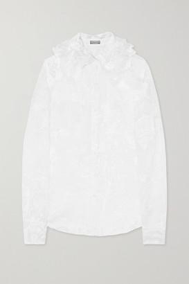 Nina Ricci Ruffled Floral-jacquard Silk-organza Blouse - White