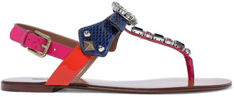 Dolce & Gabbana Crystal-embellished Color-block Ayers And Patent-leather Sandals