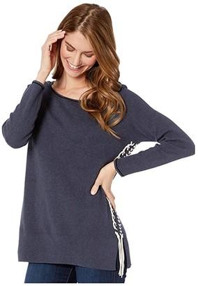 Nic+Zoe Petite On My Side Sweater (Dark Indigo) Women's Clothing