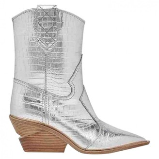 Fendi Cowboy Silver Leather Ankle boots