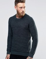 Lee Winter Crew Knit Sweater Green 2 Tone