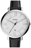 Fossil Women's 'Jacqueline' Round Leather Strap Watch, 36Mm