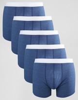 Asos Trunks In Blue Marl 5 Pack