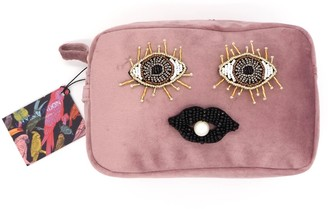 Laines London Blush Pink Velvet Bag With Beaded Eyes & Lips Brooch (Limited Edition)