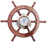 Premium Nautical Home Decor Polystone Pirate's Porthole Clock Ship Wheel   Nagina International (60 Inches)