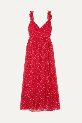 Madewell Wrap-effect Ruffled Floral-print Chiffon Dress - Red