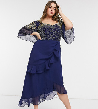 Virgos Lounge Plus embellished midi dress with flutter sleeve and ruffle skirt in navy