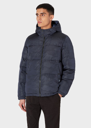 Paul Smith Men's Dark Navy Camouflage Down-Filled Hooded Jacket