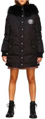 Miu Miu Jacket Down Jacket With Rhinestone Logo And Hood With Fur Edges