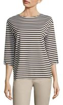 Lafayette 148 New York Striped Three-Quarter Sleeve Top