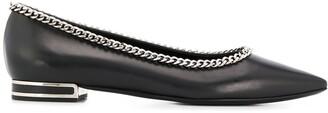Casadei Chain Detail Pointed Toe Ballerinas