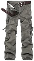OCHENTA Men's Outdoor Water Washed Cotton Multi Pocket Cargo Pants