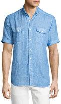 Neiman Marcus Linen Short-Sleeve Shirt, Blue
