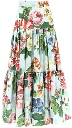Dolce & Gabbana Floral Tiered Maxi Skirt