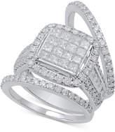 Macy's Diamond 3-Pc. Bridal Set (2-1/2 ct. t.w.) in 14k White Gold