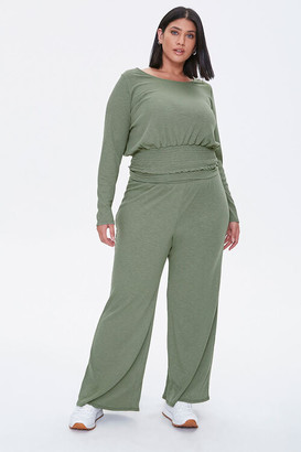 Forever 21 Plus Size Smocked Top Wide Leg Pants Set
