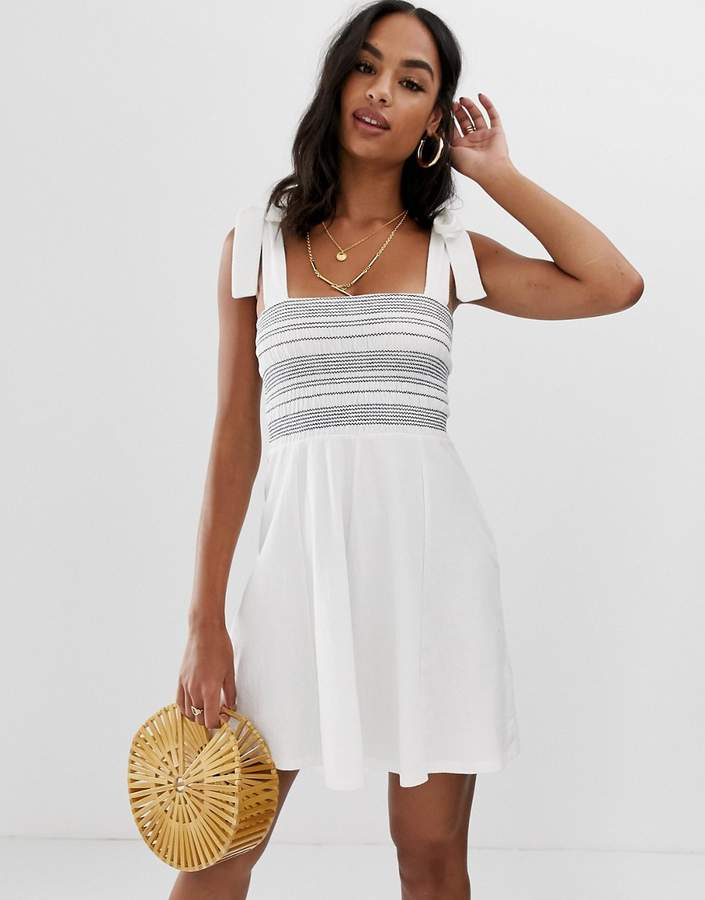 Asos Design DESIGN tie strap shirred stripe sundress