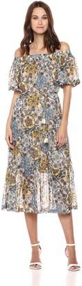 Taylor Dresses Women's Off Shoulder Printed Chiffon Maxi Dress