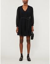 Claudie Pierlot Ripoline belted woven midi dress