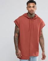 Asos Short Sleeve Longline Oversize Hoodie With Raw Edges